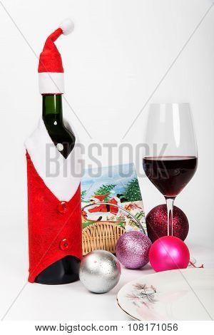 Wine Bottle In Santa Claus's Suit