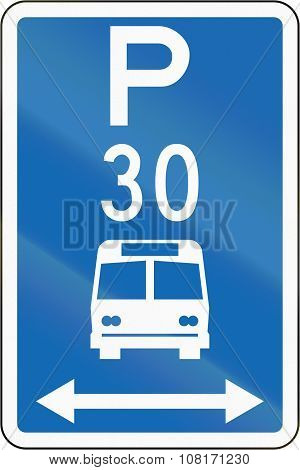 New Zealand Road Sign - Parking Zone For Buses With Time Limit, On Both Sides Of This Sign