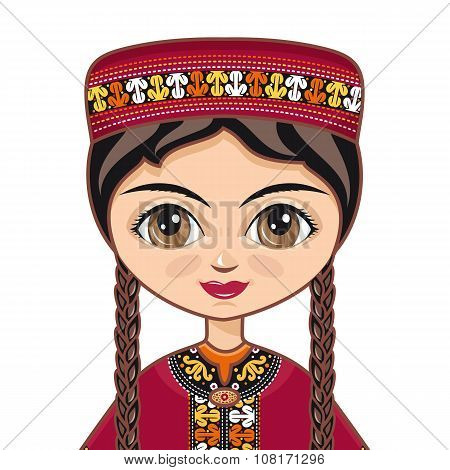 The girl in Turkmen dress.