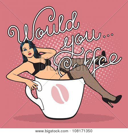 coffee cup with sexy girl in stocking