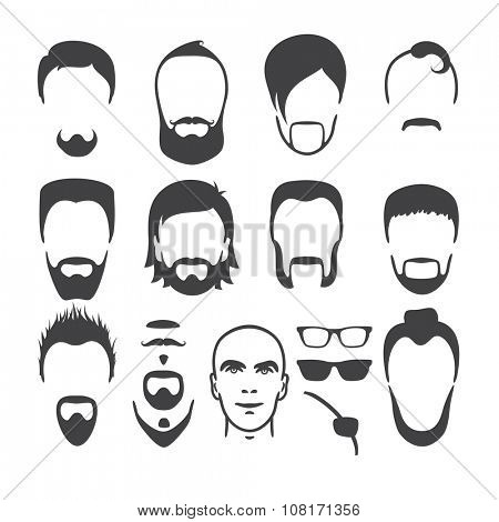 Set of close up different hair, beard and mustache style men portraits isolated