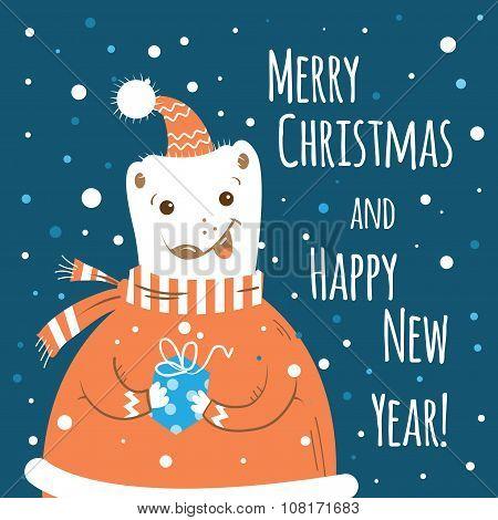 Christmas Card With Polar  Bear.