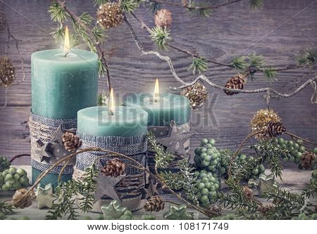 Green christmas candles and decoration
