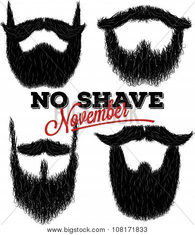 Set Of Curly Hipster Beards For No Shave November