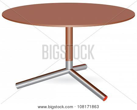 Wooden Table With A Central Leg
