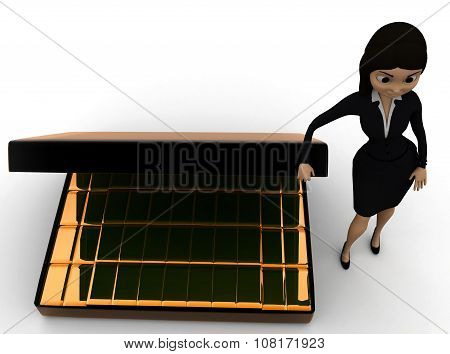 3D Woman Presenting  Briefcase With Gold Biscuts  Concept