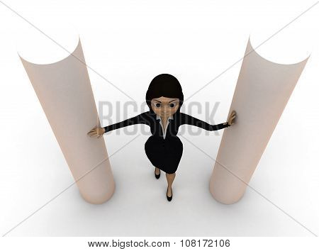 3D Woman Inbetween Round Pillar Concept