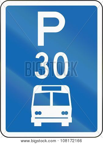 New Zealand Road Sign - Parking Zone For Buses With Time Limit