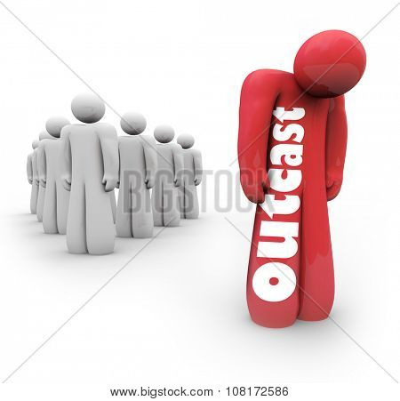 Outcast word on 3d person standing alone apart from a group or society, socially isolated or introverted