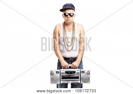 Mature rapper holding a ghetto blaster and looking at the camera isolated on white background