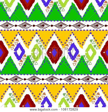 Hand Drawn Tribal Ethnic Colorful Seamless Pattern On White Background