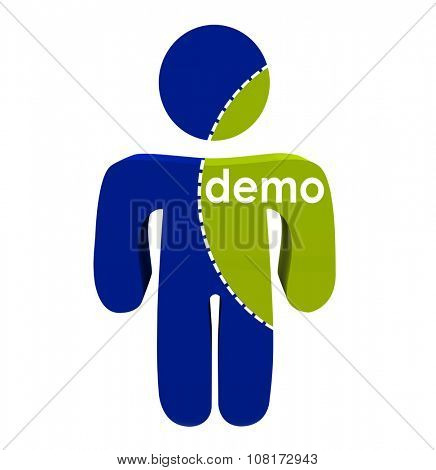 Demo word on portion of person body to illustrate market research on segment of population or customers