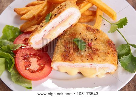 chicken breast with cheese and ham