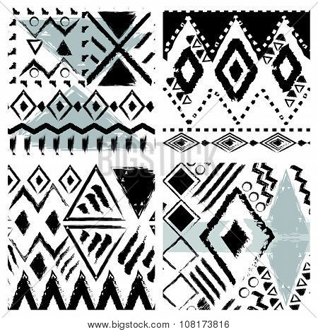 Sat Of Four Black And White Hand Drawn Tribal Seamless Patterns