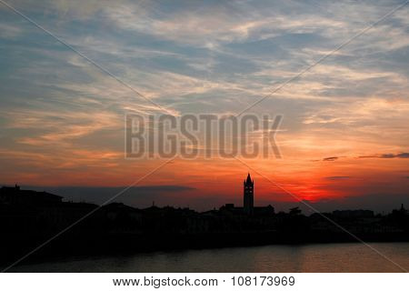 Verona Sunset Across The River Adige