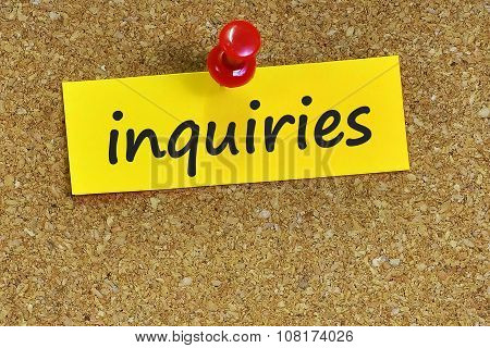 Inquiries  Word On Notes Paper With Cork Background