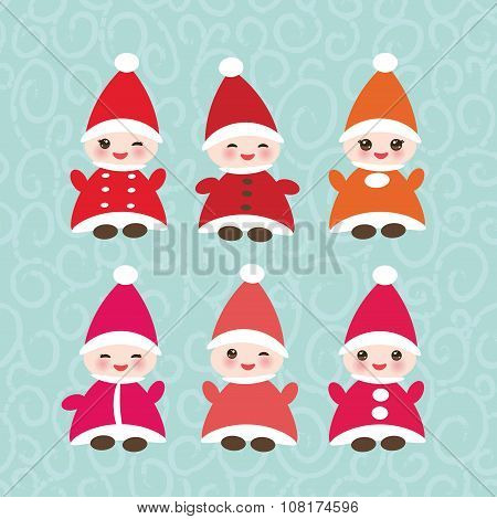 Happy New Year card, set Funny gnomes in red hats on blue background. Vector