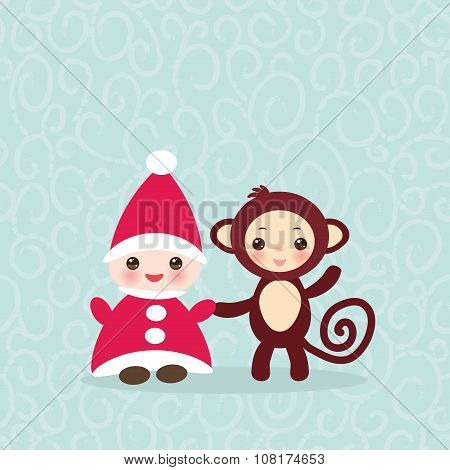 2016 Happy New Year card. Funny gnome in red hat brown monkey on blue background. Vector