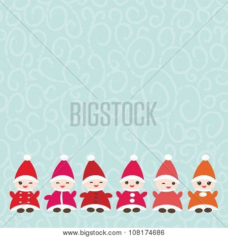 Happy New Year card for your text Funny gnomes in red hats on blue background. Vector