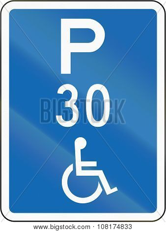 New Zealand Road Sign - This Parking Space Is Reserved For Disabled Persons, With Time Limit