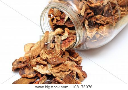 Dried Mushrooms Pouring Out Of Glass Jar. White Background