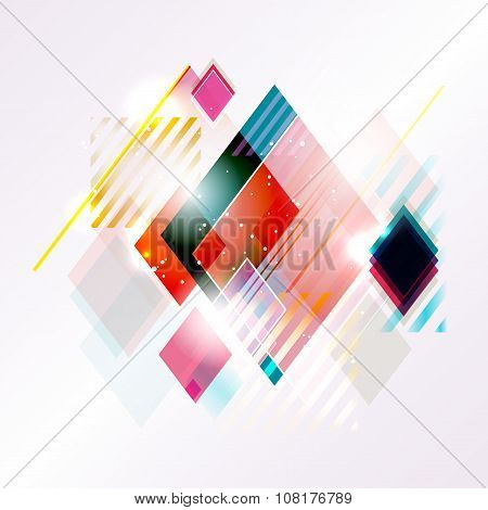 Abstract Shiny Background From Lines And Rhombs