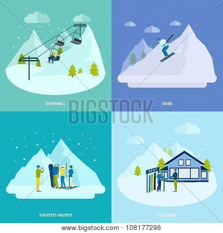 Winter Active Rest In Mountains Design Concept Set