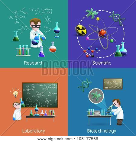 Scientists  In Lab Icons Set
