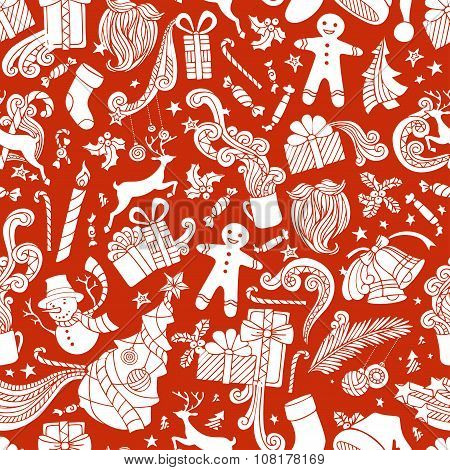 Boundless Red And White Cartoon Christmas Background.