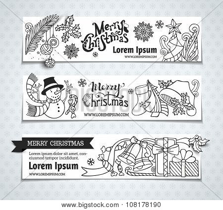 Vector Set Of Christmas Horizontal Banners.