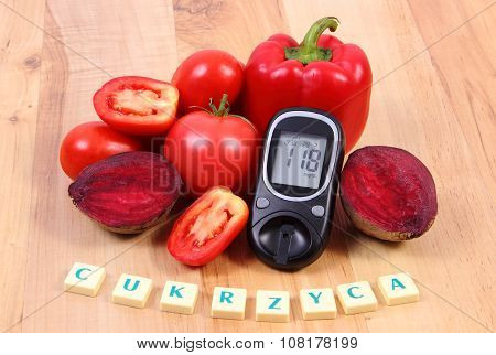 Vegetables, Glucometer And Polish Word Diabetes On Wooden Surface, Healthy Lifestyle And Nutrition