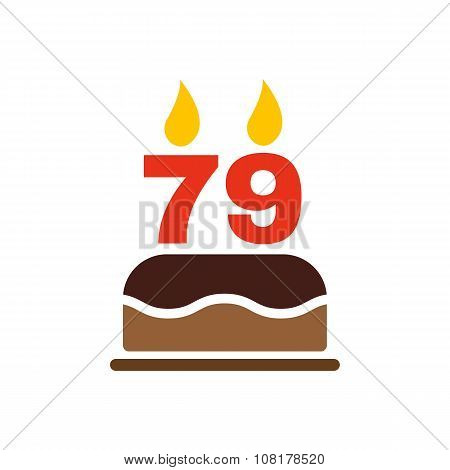 The birthday cake with candles in the form of number 79 icon. Birthday symbol. Flat