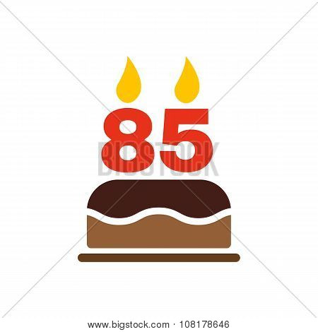 The birthday cake with candles in the form of number 85 icon. Birthday symbol. Flat