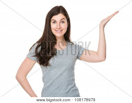 Woman with open hand palm