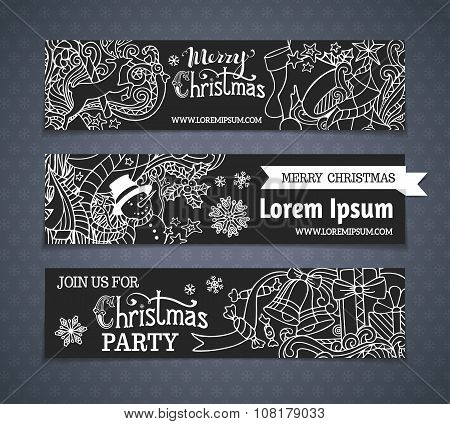 Vector Set Of Cartoon Black And White Christmas Banners.