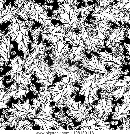 Christmas Mistletoe Seamless Pattern.