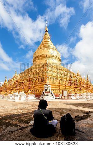 Shwezigon Paya, The golden pagoda in Bagan, Myanmar.
