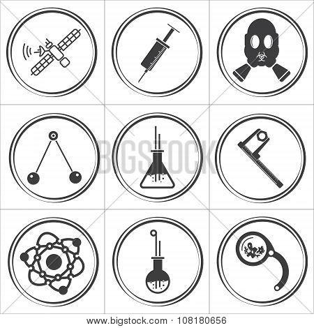 9 science circle flat vector icons