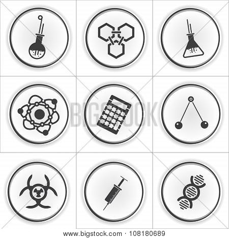 9 science vector circle icons