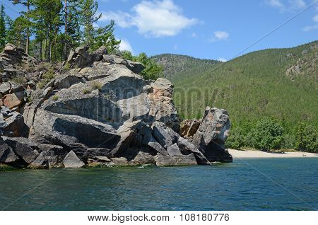 The Picturesque Rocky Coastline Of The Western Coast Of Lake Baikal