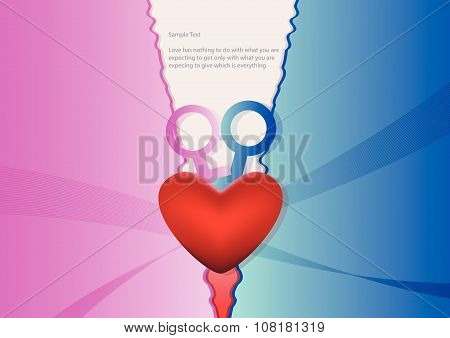 Heart With Blue And Pink Background
