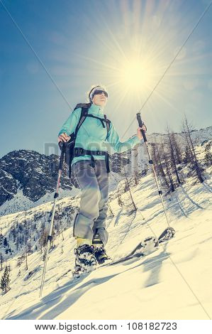 Young female skier.