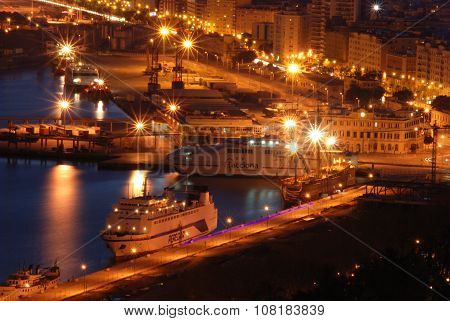 Malaga port at night.