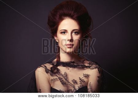 Woman On Dark Background