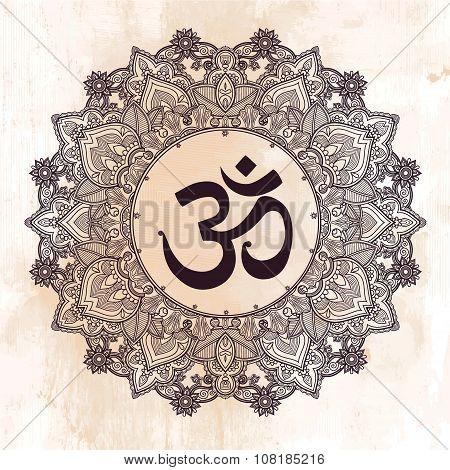 Lord Ganesha Om mandala symbol.