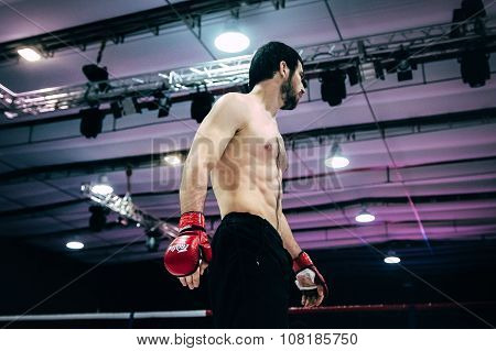 athlete MMA close up before fight