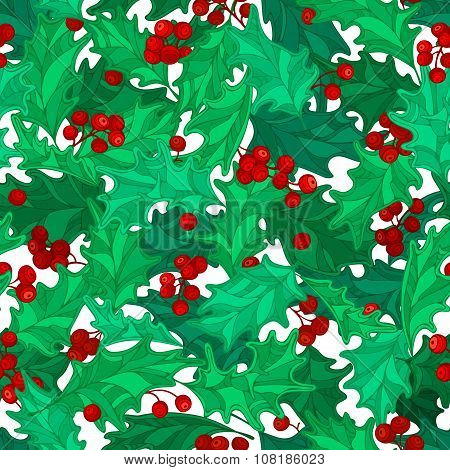 Vector Holly Berries Seamless Pattern.