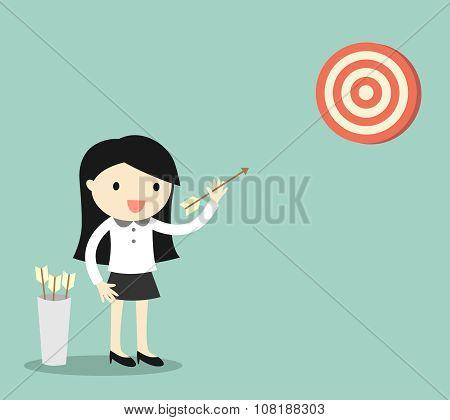 Business concept, Business woman shooting the target. Vector illustration.