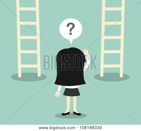 Business concept, Business woman confused about two ladder. Vector illustration.