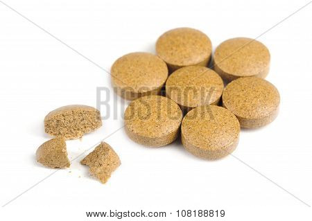 Herbal Valerian Pills Isolated On White Background